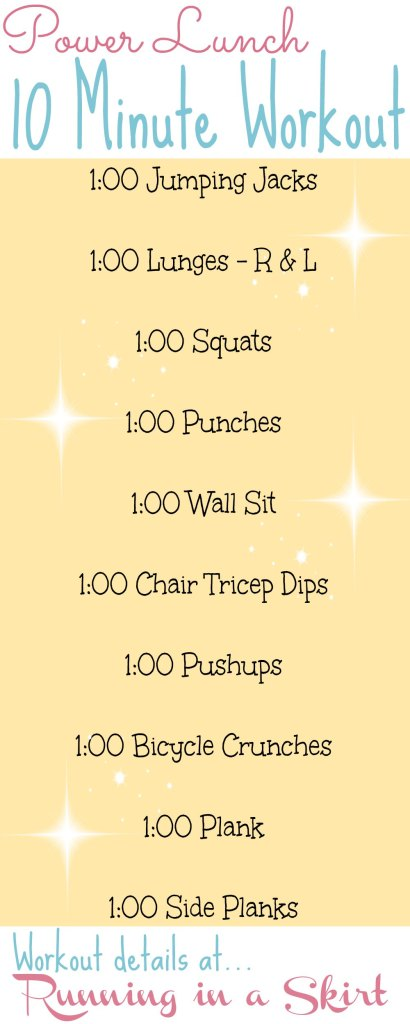 Make your lunch hour count! 10 Minute Power Lunch Workout- Get workout tips and tricks on Running in a Skirt