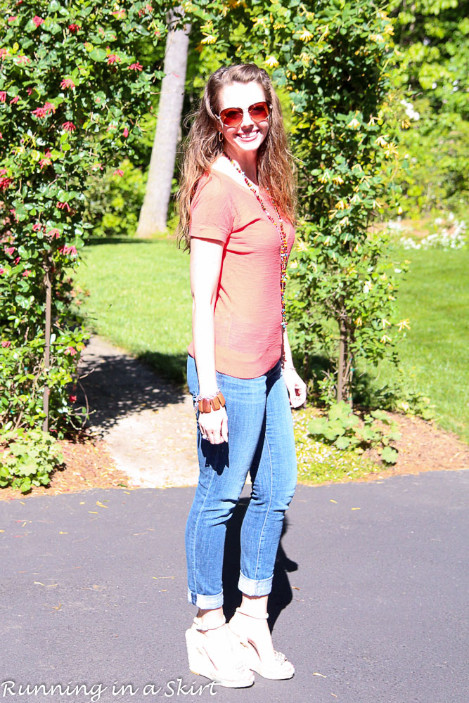 Coral Shirt and Jeans / Running in a Skirt