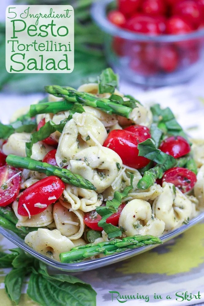 Pesto Tortellini Salad with asparagus pin