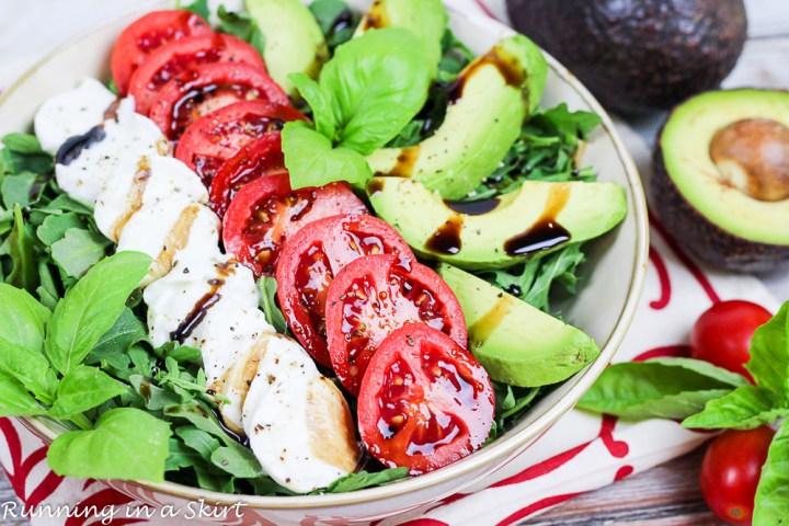 Avocado Caprese Salad with arugula- summer salad/ Running in a Skirt