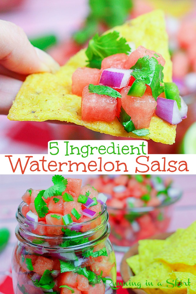 Watermelon Salsa recipe- only 5 Ingredients. This recipe easy is perfect for summer! Includes options to make it spicy or mild. This fruit salsa is healthy, fresh and the best Mexican inspired dip. Great for summer parties like the 4th of July. / Running in a Skirt #watermelon #healthy #recipe #salsa #fruit via @juliewunder