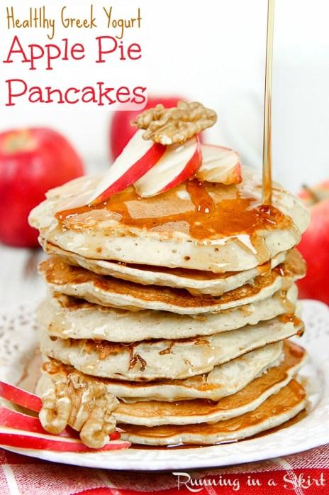 Apple Pie Greek Yogurt Pancakes Healthy for breakfast