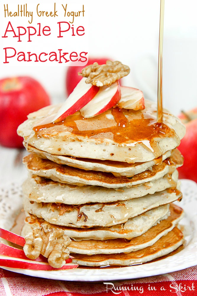 Apple Pie Greek Yogurt Pancakes Healthy for breakfast