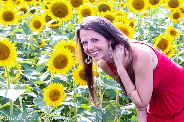 Red Dress in Sunflowers-51-3