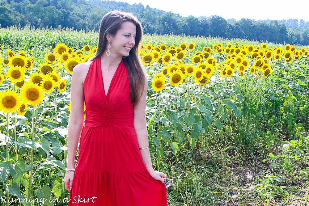 Red Dress in Sunflowers-7-1