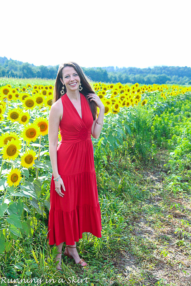 Red Dress in Sunflowers-79-5