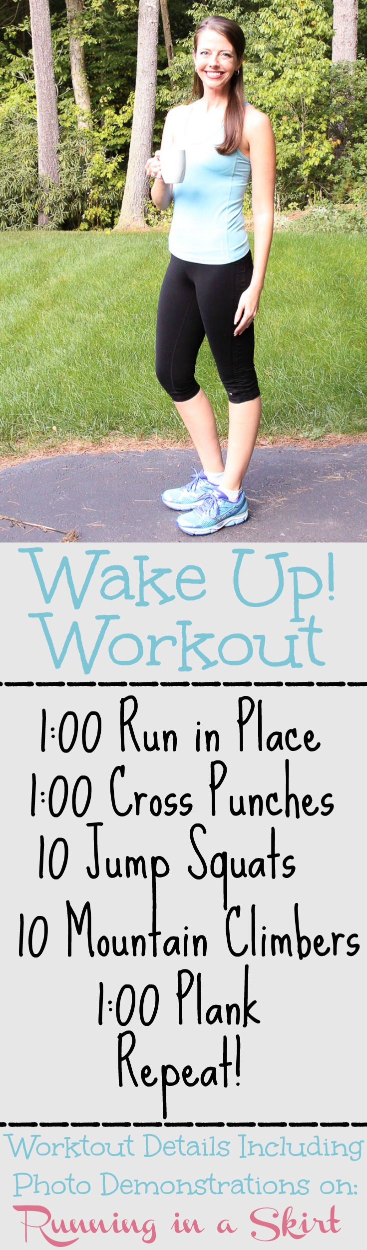 10 Minute Morning Wake Up Workout. Photo demonstrations on Running in a Skirt.