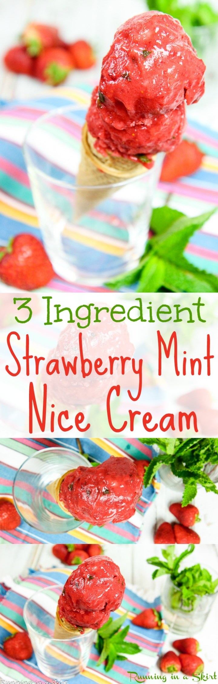 3 Ingredient Vegan Strawberry Nice Cream recipe with mint!  This healthy fruit based treat is totally clean eating and free of added sugar.  It's perfect as simple summer desserts or guilt-free sweet treats.  This is an easy homemade recipe that is frozen banana free!  Dairy-free, gluten-free, vegetarian and does not require an ice cream maker. / Running in a Skirt via @juliewunder