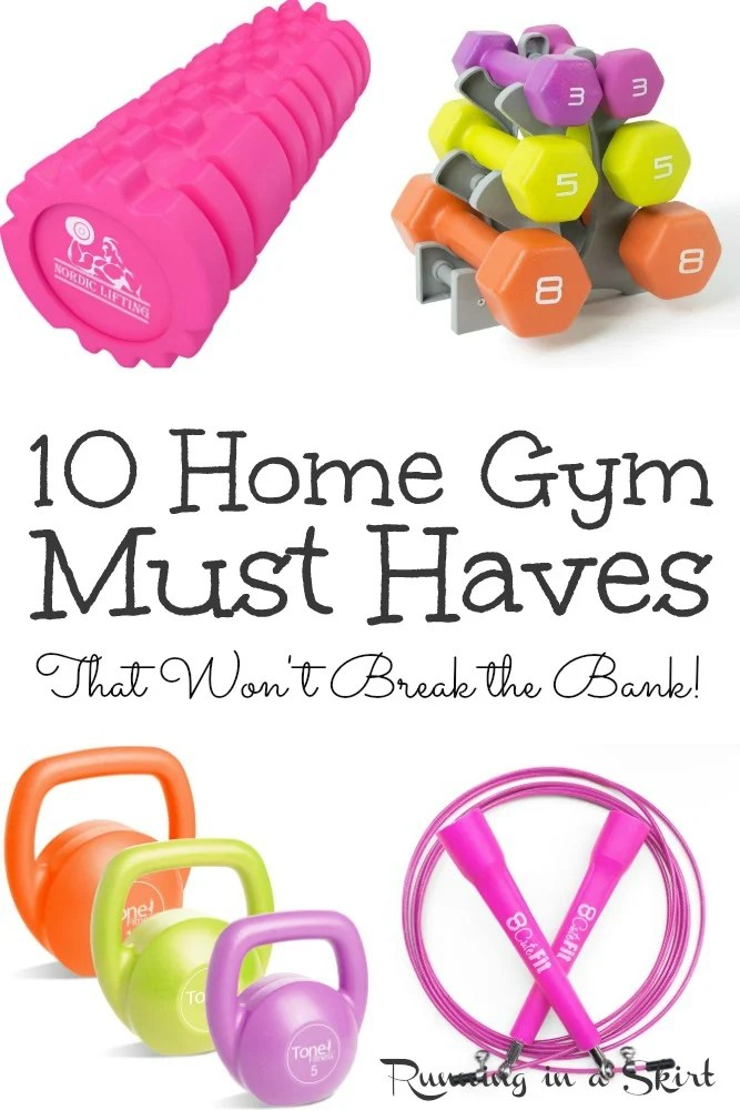 10 Home Gym Must Haves including budget friendly exercise equipment and ideas for your DIY workout rooms. Perfect for a small space, garage, basement or just a room in the house. These are the best essentials and weights you need to get started. / Running in a Skirt #homegym #workout #exercise #healthyliving #fitness via @juliewunder