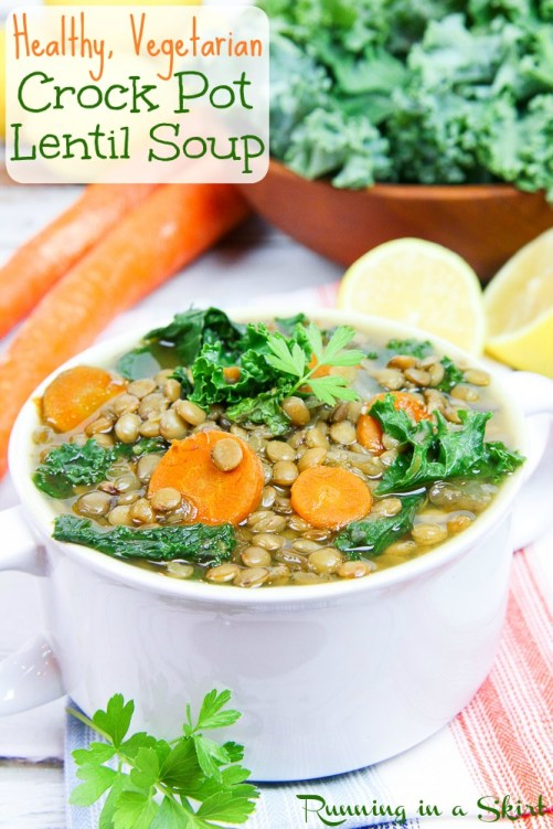 Vegetarian Crock Pot Lentil Soup / Running in a Skirt