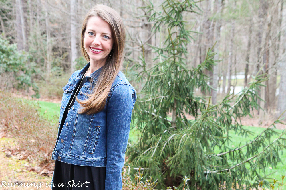 Black Swing Dress, Denim Jacket and Cowboy Boots / Running in a Skirt
