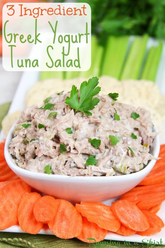 Healthy 3 Ingredient Greek Yogurt Tuna Salad recipe.  A clean eating, fast meal or snack.  An easy twist on the Southern favorite with greek yogurt, with relish and no mayo.  Diet friendly! / Running in a Skirt via @juliewunder