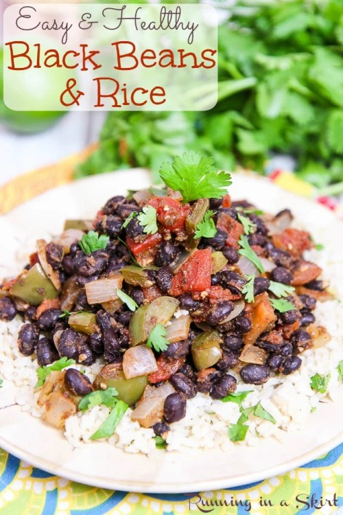Vegan Easy Black Beans and Rice recipe - with Cilantro Lime Brown Rice / Running in a Skirt