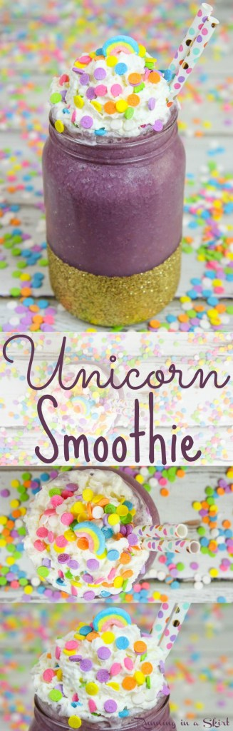 Healthy Unicorn Smoothie recipe -- fun Unicorn Drink! / Running in a Skirt