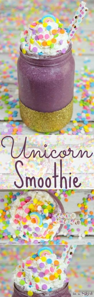 Healthy Unicorn Smoothie recipe -- fun Unicorn Drink! / Running in a Skirt