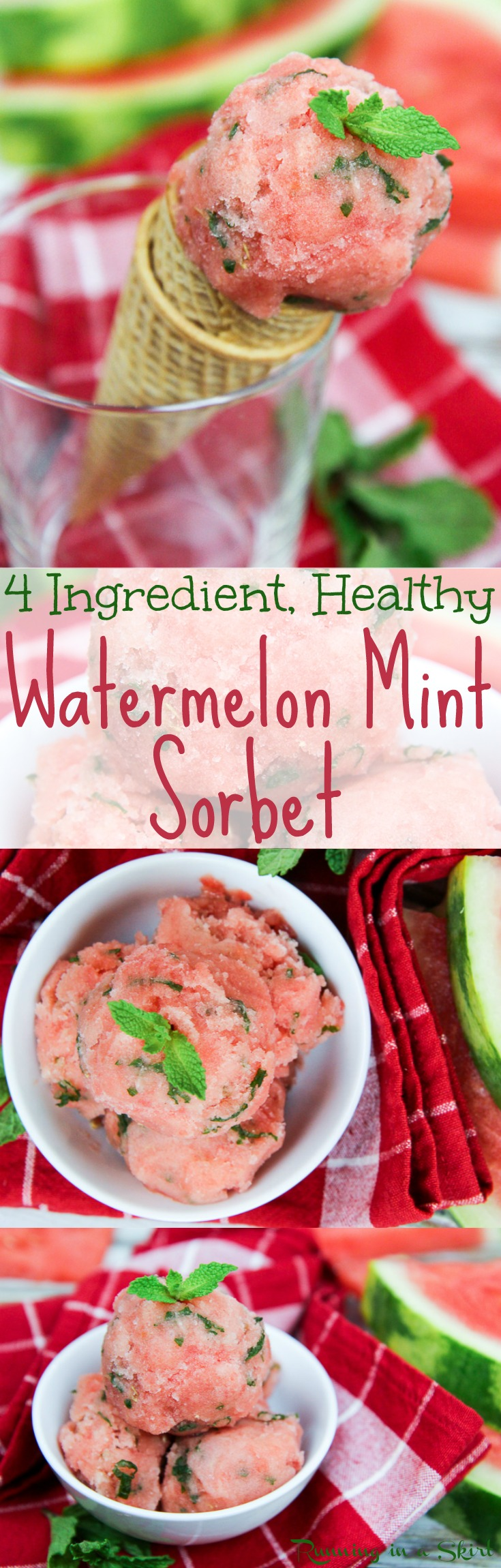4 Ingredient Vegan Watermelon Nice Cream recipe with mint!  A healthy, homemade and easy no churn, no ice cream maker watermelon sorbet.   Added sugar free using frozen fruit.  The perfect summer dessert or treats/ Running in a Skirt via @juliewunder