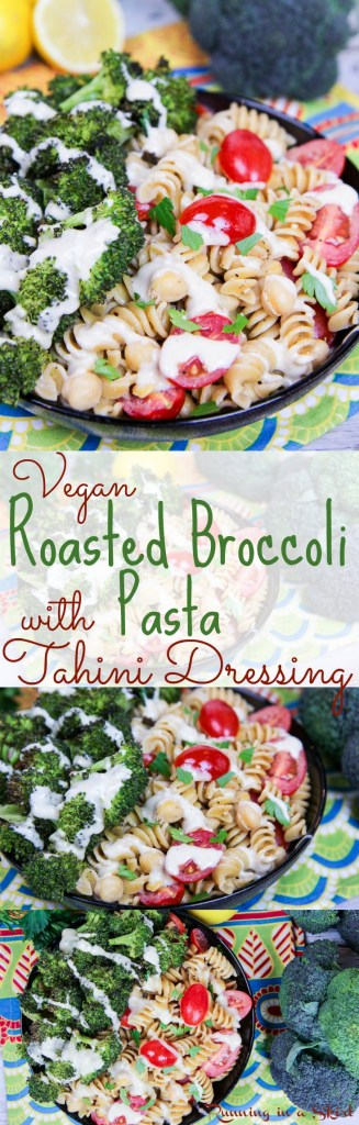 Healthy, Vegan Roasted Broccoli Pasta recipe with tahini dressing / Running in a Skirt
