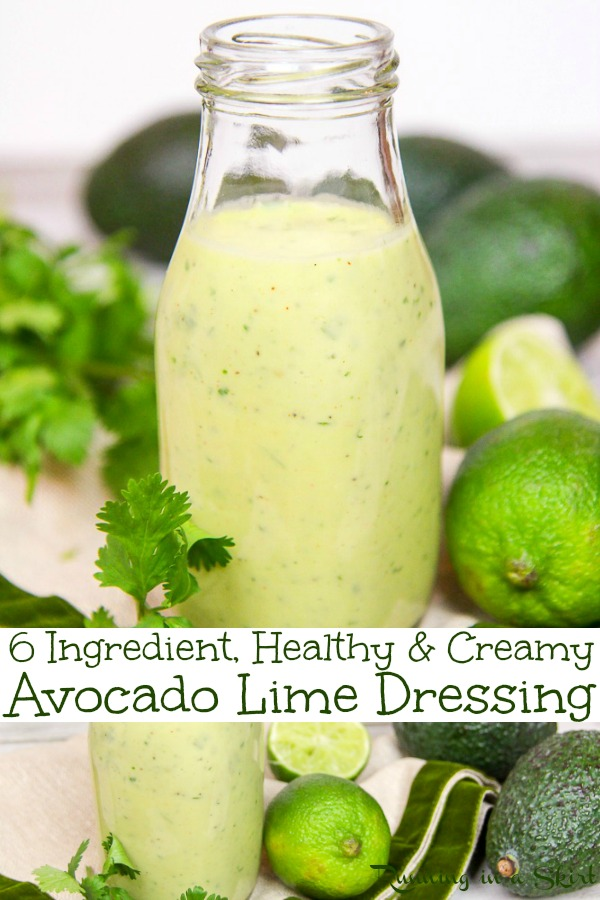 6 Ingredient Healthy & Creamy Avocado Lime Dressing recipe. A clean eating, easy homemade salad dressing with avocado, cilantro and greek yogurt.   Low carb, whole 30, vegetarian and paleo.  Great on salads or tacos. / Running in a Skirt via @juliewunder