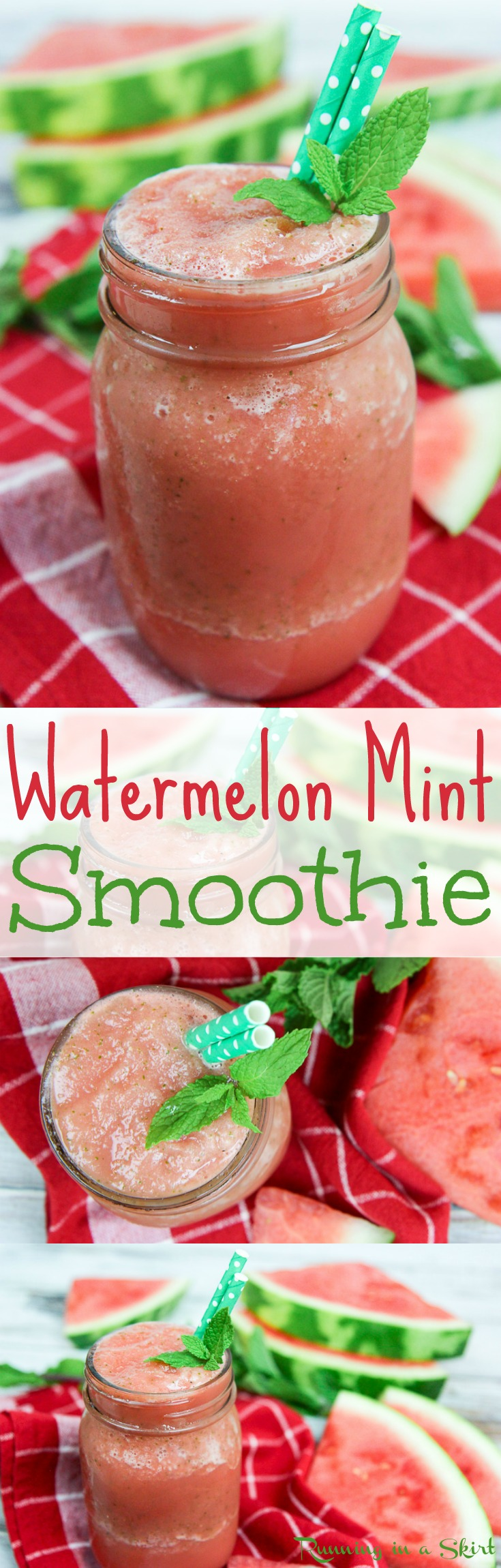 Healthy Watermelon Mint Smoothie recipe! A hydrating and refreshing idea for summer drinks. An easy, simple, vegan, gluten free, and clean eating watermelon smoothie drink. Perfect for summer mornings, snacks or after working out! / Running in a Skirt via @juliewunder