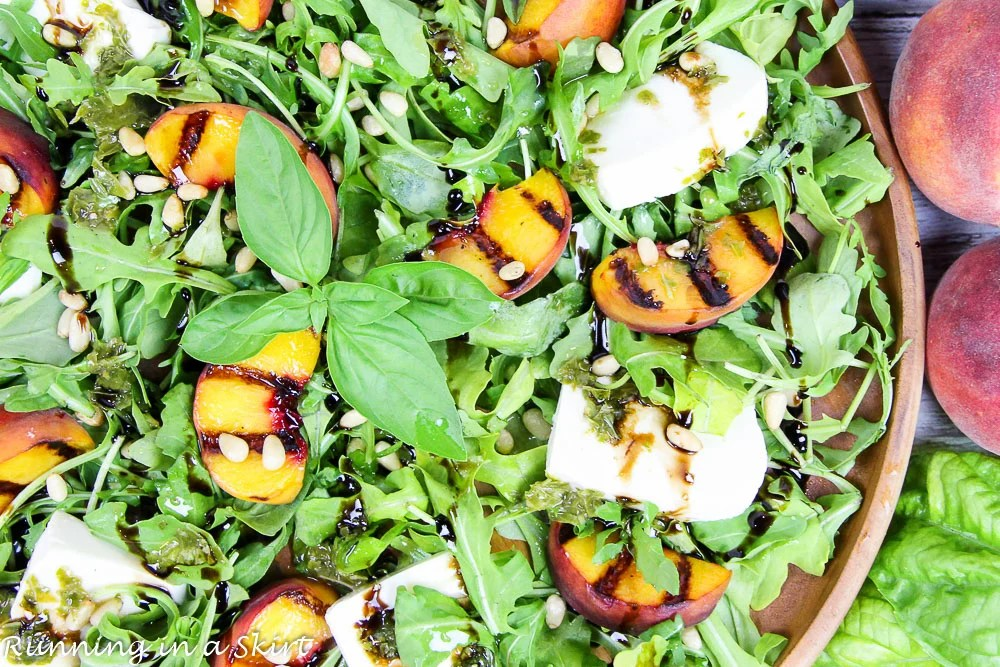 Caprese Grilled Peach Salad recipe/ Running in a Skirt