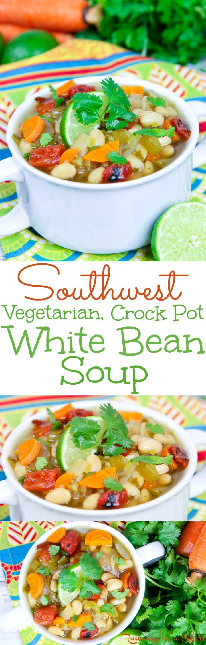 Crock Pot Southwest Vegetarian White Bean Soup recipe. Healthy, meatless and packed with veggies for the perfect vegan comfort foods. Uses salsa. Easy, simple and made in the slow cooker!  Gluten free / Running in a Skirt  via @juliewunder
