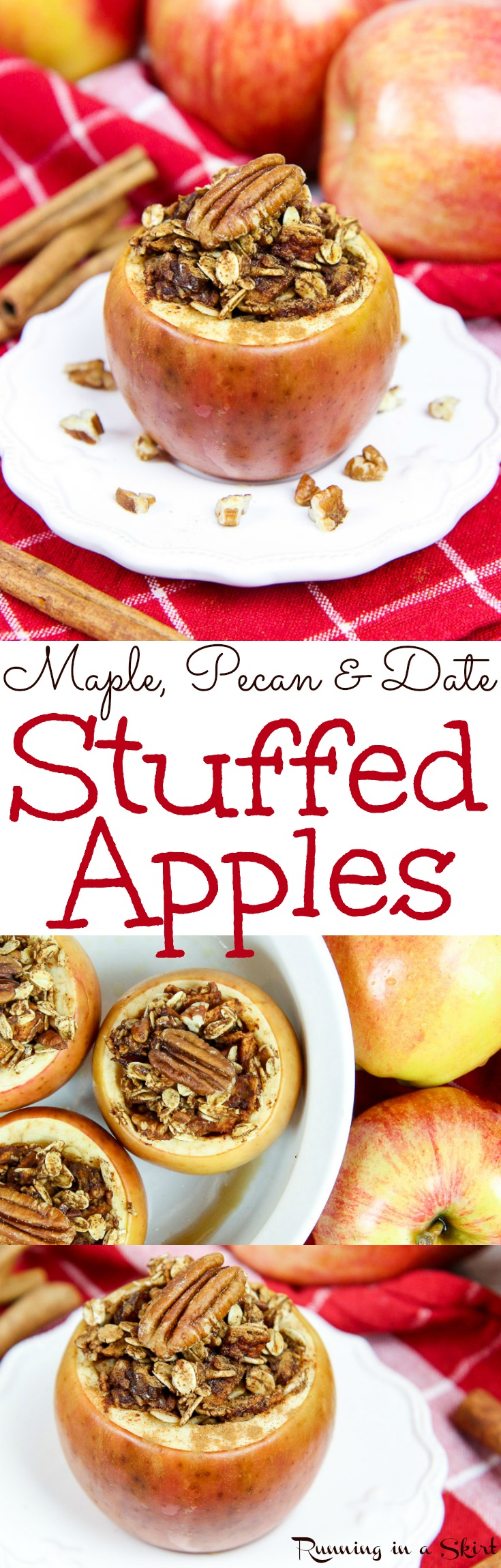 The Best Healthy Stuffed Apple recipe - Maple, Pecan and Date Stuffed Apples...baked to perfection! An easy dessert stuffed with oatmeal and cinnamon,  Vegan, low carb, gluten free friendly and vegetarian.  Tastes like an apple crisp without the crust! Perfect for fall treats. / Running in a Skirt via @juliewunder