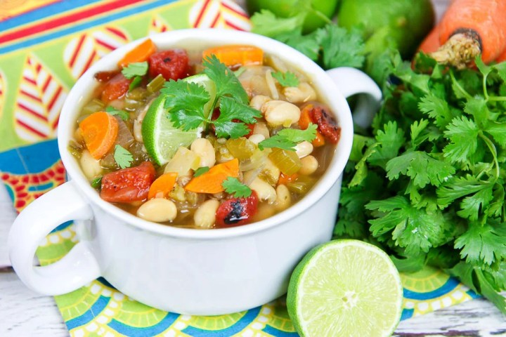Crock Pot Southwest Vegetarian White Bean Soup recipe/ Running in a Skirt