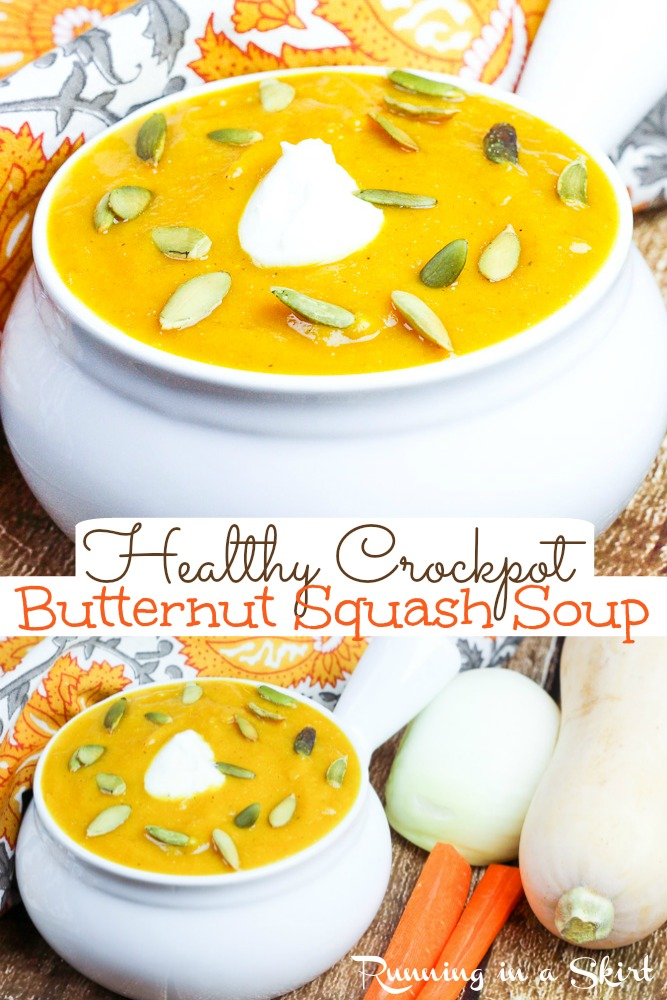 Crockpot Butternut Squash Soup recipe - this healthy and easy vegetarian slow cooker soup is rich and creamy without the fat! Made with greek yogurt but recipe includes a vegan option with coconut milk. The best homemade version like copycat Panera but better for you! / Running in a Skirt #slowcooker #crockpot #vegetariancrockpot #healthy #greekyogurt #butternutsquash via @juliewunder