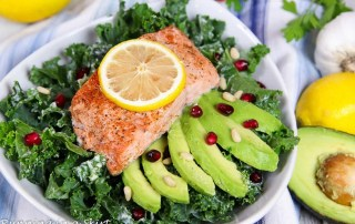 Roasted Salmon Kale Salad recipe with Tahini Dressing / Running in a Skirt