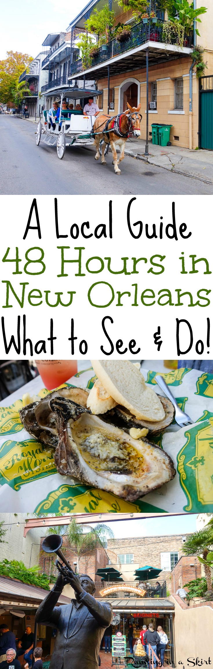 Things to Do in New Orleans - a 48 hour travel guide by locals!  What to do in the French Quarter, Bourbon Street, Garden District, restaurants, shopping... where to stay in and the best hotels!  Tips to plan your NOLA vacation. / Running in a Skirt via @juliewunder