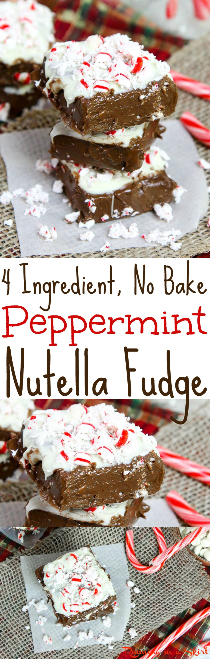 4 Ingredient, No Bake Peppermint Nutella Fudge recipe.  This easy healthy Christmas treat is made in the microwave and stores in the freezer.  Topped with candy canes. Vegan, dairy free, gluten free and paleo friendly. / Running in a Skirt via @juliewunder