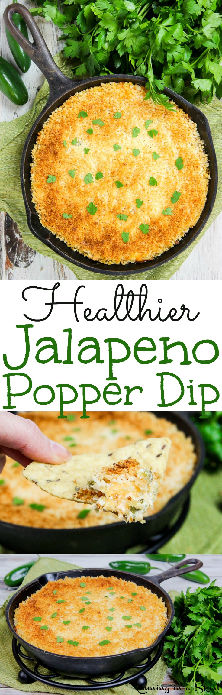 Easy Healthy Jalapeno Popper Dip recipe - with greek yogurt and with panko!  The perfect appetizers for your Super Bowl party. Also uses cream cheeses and cheddar cheese - not too spicy. A great vegetarian Superbowl food! Gluten free too. / Running in a Skirt