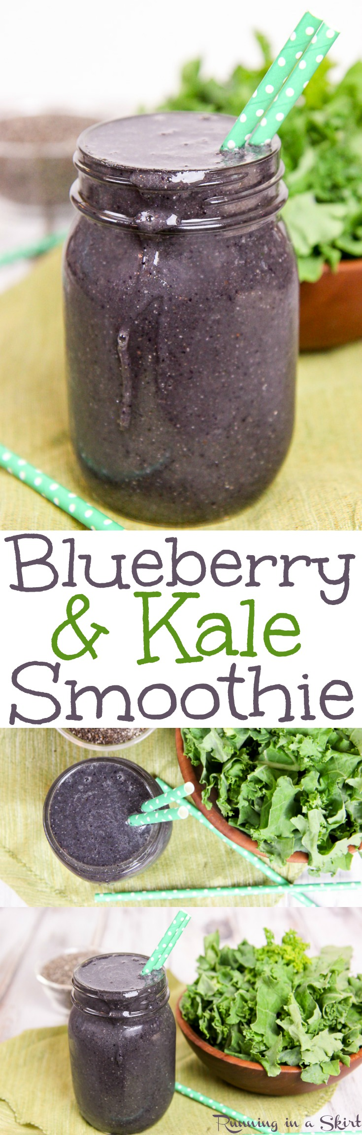 Kale and Blueberry Smoothie recipe.  A sweet green smoothie with chia seeds and greens.  Includes a frozen banana to make it creamy.  Perfect for breakfast or a snack.  Healthy, fast, vegan, gluten free and clean eating! / Running in a Skirt
