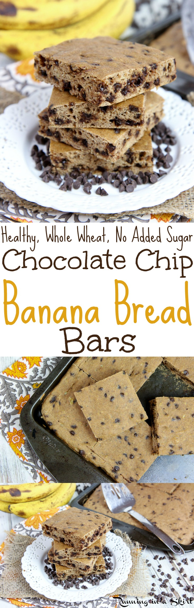 The Best Healthy Chocolate Chip Banana Bread Bars recipe - an easy, simple recipe for desserts or snacks... the perfect sweet treats!  Dairy free & added sugar free. / Running in a Skirt via @juliewunder