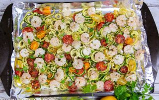 6 Ingredient Sheet Pan Shrimp and Zoodles recipe