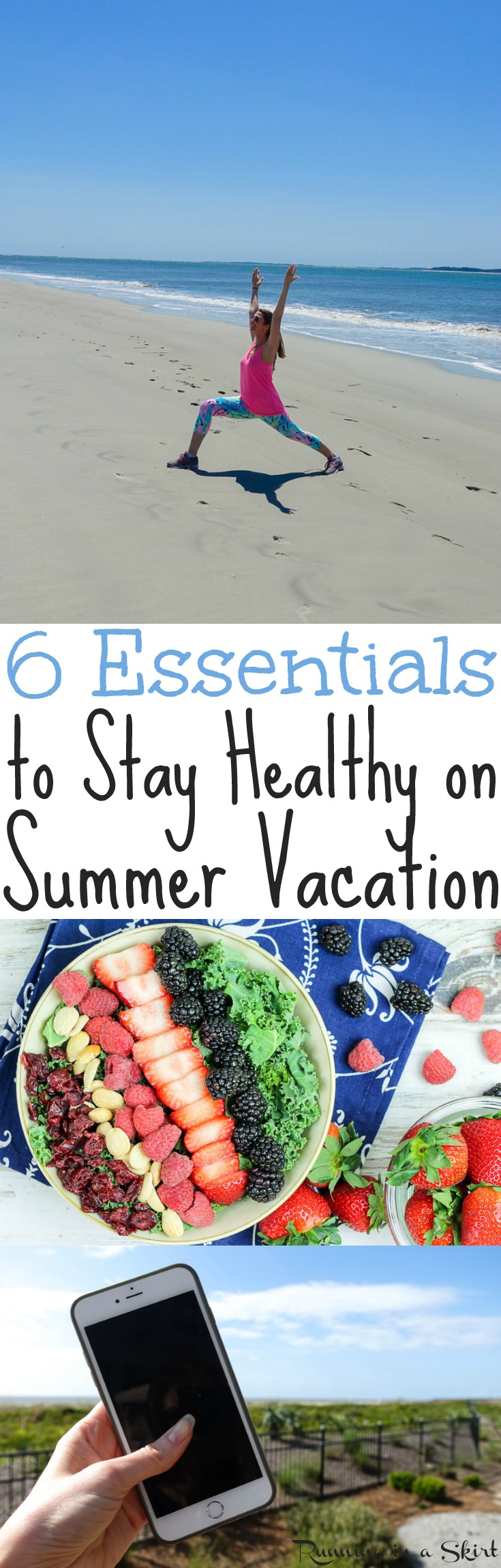 6 Essential Tips for Healthy Travel for the BEST Summer Vacation - including ideas to stay active on vacations for your health and to stay fit!  Also to enjoy clean eating meals and foods even on adventures.  Keep your gut health in check even when you are traveling. / Running in a Skirt AD via @juliewunder