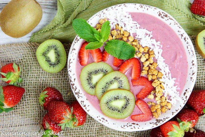 Overhead shot of Kiwi Strawberry Smoothie Bowl Recipe in a white bowl.