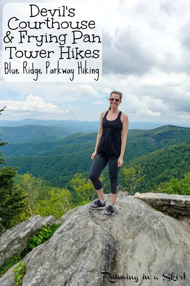 These 2 short Asheville Hikes are along the Blue Ridge Parkway near Asheville, NC with epic views - Devil's Courthouse Hike & Frying Pan Tower Hike!  Perfect for day trips.  Enjoy the NC Mountains from these beautiful spots for Blue Ridge Parkway hiking in North Carolina, USA.  / Running in a Skirt #hiking #asheville #hike #outdoors #blueridgeparkway #northcarolina #travel
