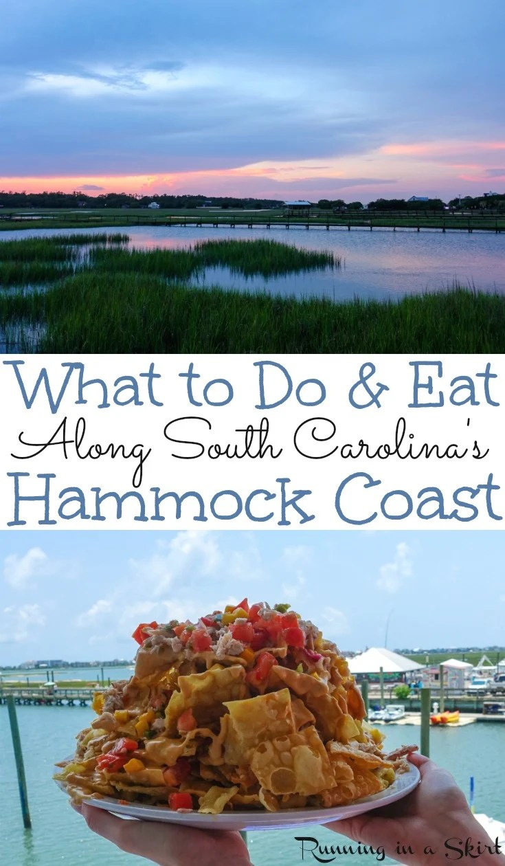 What to Do & Eat Along the South Carolina Hammock Coast - includes things to do in Murrell's Inlet, Pawley's Island and Georgetown SC.  The best restaurants, beach locations, where to shell on islands, kayaking, boating and where to see beautiful sunsets.  Also, travel information about Brookgreen Gardens and Huntington Beach State Park.  You will love this fabulous, nature-oriented alternative to Myrtle Beach SC. / Running in a Skirt