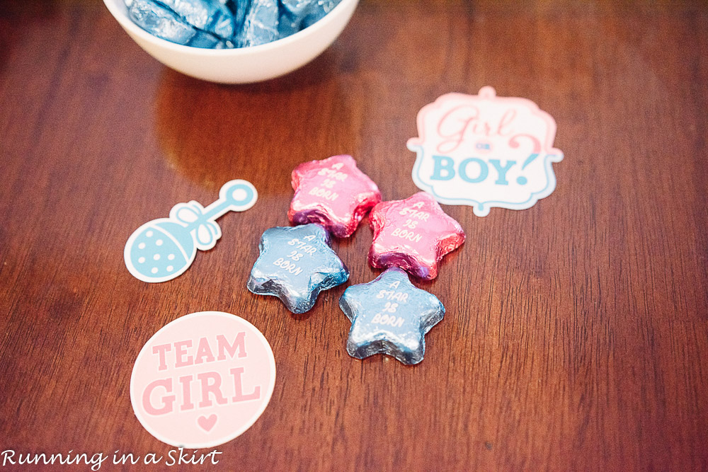 Twins gender reveal ideas with team boy or team girl.