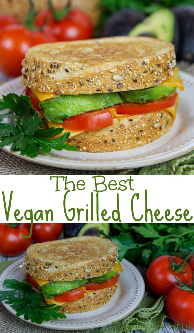 The Best Homemade Vegan Grilled Cheese recipe - this easy dairy free sandwich uses veggies like avocado and tomato and a plant-based butter spread!  The perfect alternative comfort foods for lunches or dinners.  / Running in a Skirt AD @publix #PureBlendsPureFlavor #vegan #healthy #dairyfree #recipe