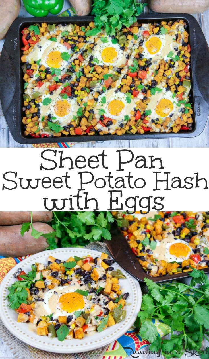 Healthy Sheet Pan Southwest Sweet Potato Hash with Eggs recipe - Perfect for breakfast, brunch or dinner.  Uses veggies and black beans for a one pan meatless monday meal.  A simple and fun way to start mornings and a twist on a classic breakfast casserole for families.  Clean eating, Whole30 & Gluten Free. / Running in a Skirt AD @briannassalad #cleaneating #healthy #recipe #sweetpotato #eggs #vegetarian #breakfast #brunch