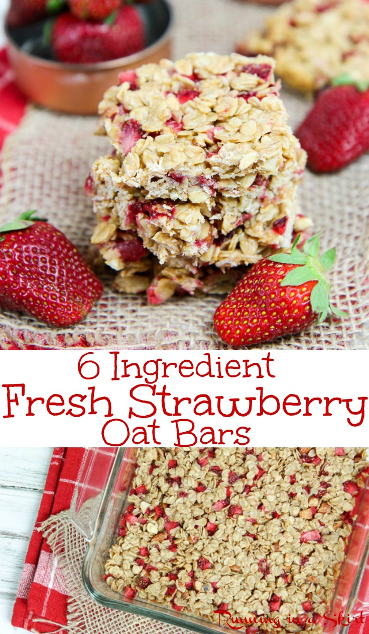 Healthy Fresh Almond Strawberry Bars recipe - Easy Only 6 Ingredients!  Clean eating with oatmeal, coconut oil, honey, almond butter and almonds.  These homemade, simple bars are perfect for snacks, breakfast or a sweet treat.  No refined sugar or butter.  /Running in a Skirt #strawberry #baking #recipe #healthy #oatmeal #cleaneating via @juliewunder