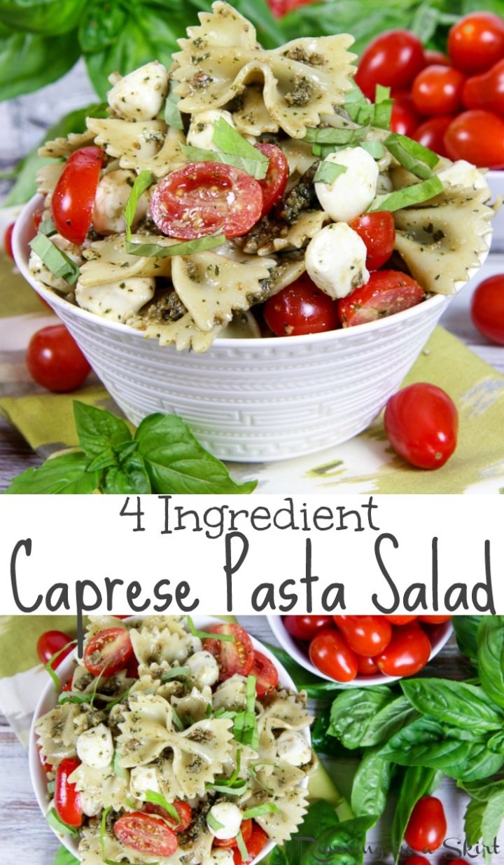 4 Ingredient Easy Caprese Pasta Salad with Pesto recipe - the best healthy, cold tomato mozzarella salad! A simple summer meals or lunch ideas. Perfect for a crowd or potlucks. Vegetarian. / Running in a Skirt #vegetarian #healthy #recipe #caprese #pasta via @juliewunder