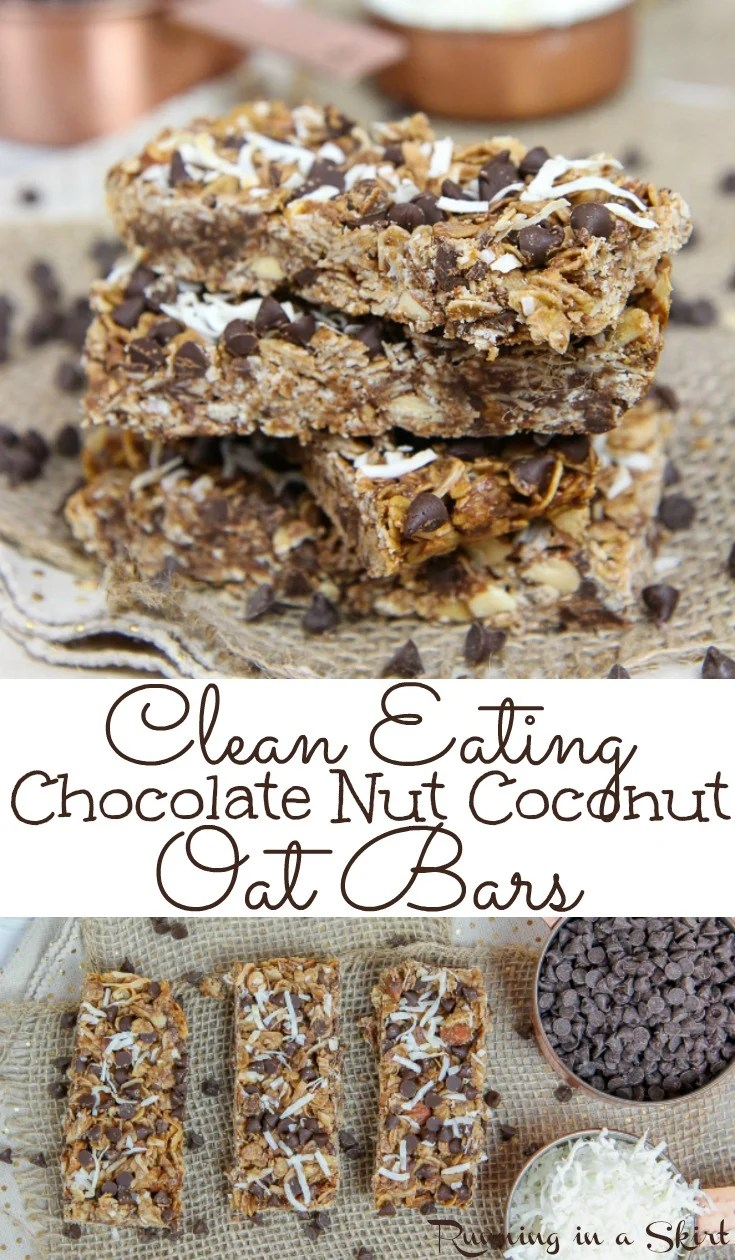 Healthy Clean Eating Chocolate Nut Coconut Oatmeal Bars - Easy, Only 7 Ingredients!  These soft and chewy homemade DIY bars are simple with honey, peanut butter and no sugar.  Perfect for breakfast, dessert or school snacks. / Running in a Skirt #cleaneating #healthy #recipe #oatmeal #bars #snack #dessert