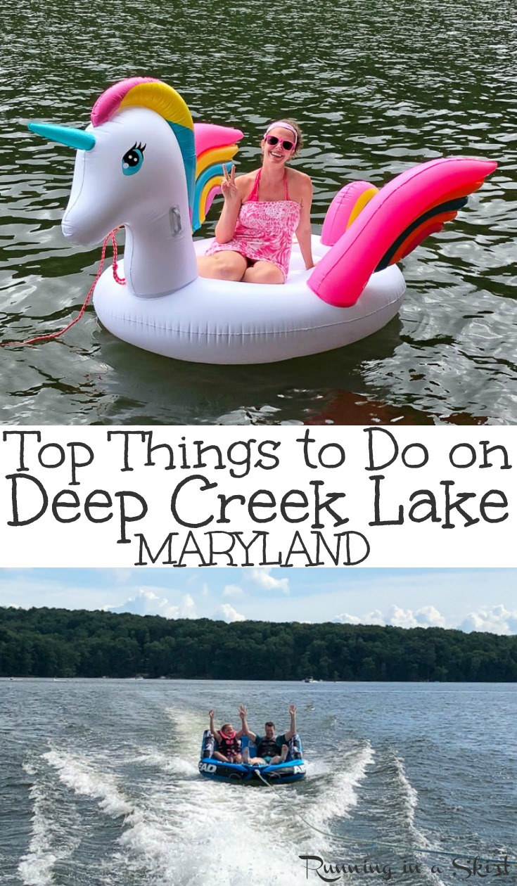 Top 7 Things to Do & Eat in Deep Creek Lake, Maryland - includes ideas for the best fun family summer vacations on this beautiful lake.  Enjoy the water - boating and floating -, visit Swallow Falls State Park with waterfalls, lavender farm, Honi Honi Bar.  Plus the best restaurants in the nearby town of McHenry. / Running in a Skirt #travel #maryland #deepcreek #lake