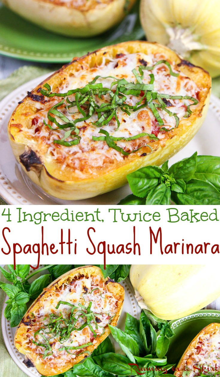 Healthy 4 Ingredient Twice Baked Spaghetti Squash Marinara - with tomatoes and cheese!  This lighter vegetarian baked spaghetti dish is perfect for dinners and meals where you want something easy, simple and low carb.  A fun twist on your favorite comfort foods like baked ziti pasta.  Uses mozzarella, parmesan and basil. Gluten free, vegetarian & low carb. / Running in a Skirt #spaghettisquash  #squash #lowcarb #healthy #vegetarian #recipe #glutenfree via @juliewunder