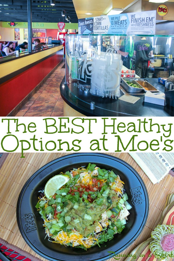 The Best Healthy Options at Moe's Southwest Grill - including food options on the menu for vegetarian, vegan, gluten free, keto and paleo diets at the restaurant.  Includes bowl, burritos, salads, tacos and a quesadilla.  #moes #burrito #mexican #vegetarian #vegan #healthy #healthyliving #paleo #gluten free #keto #mexican #fastfood #MadeatMoes / Running in a Skirt