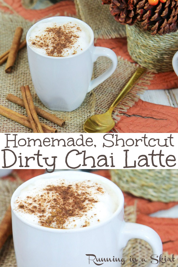 Homemade Dirty Chai Latte recipe - shortcut version!  Includes how to make DIY instructions using Tazo tea and espresso.  Dairy free option with almond milk or regular milk.  Iced OR Hot! The perfect spices for these drinks. Gluten free & vegan  / Running in a Skirt #WarmuptoTazo #FallforTazoFlavor #ad #recipe #healthy #chaitea #chai #coffee #drinks #chailatte #tea