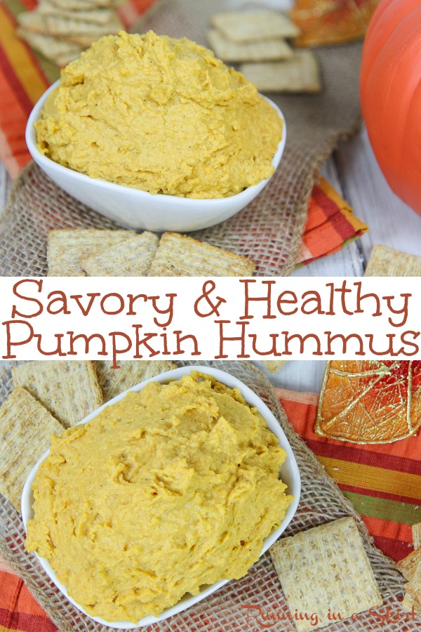 Savory Healthy Pumpkin Hummus recipe - an easy vegan dip that is also great as an appetizer or on a sandwich. Uses chickpeas and tahini- perfect for Fall! / Running in a Skirt #hummus #fall #vegan #plantbased #healthy #cleaneating #recipe #dairyfree via @juliewunder